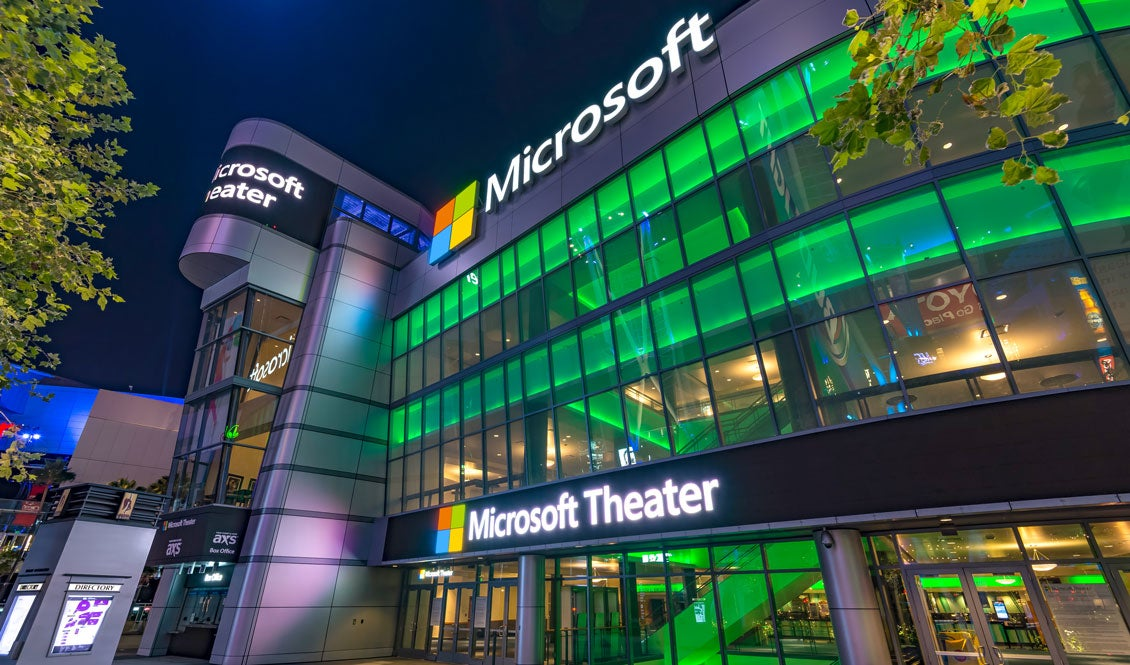 A view of the front entrance to Microsoft Theater at night