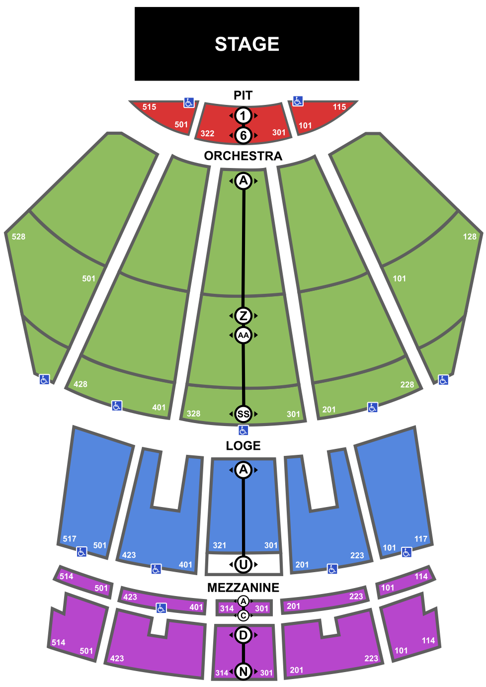 Microsoft Theater Seating Chart. Stage, Pit, Orchestra, Loge, Mezzanine. Full Description Below